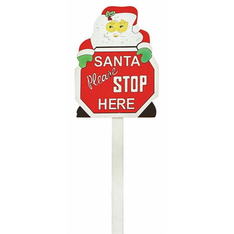 Premier Santa Please Stop Here Christmas Sign - 79cm (AC97410)