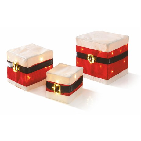 Premier Santa Suit With Buckles Parcels With Warm White LEDs - Set of 3 (LV191154) Christmas Lights