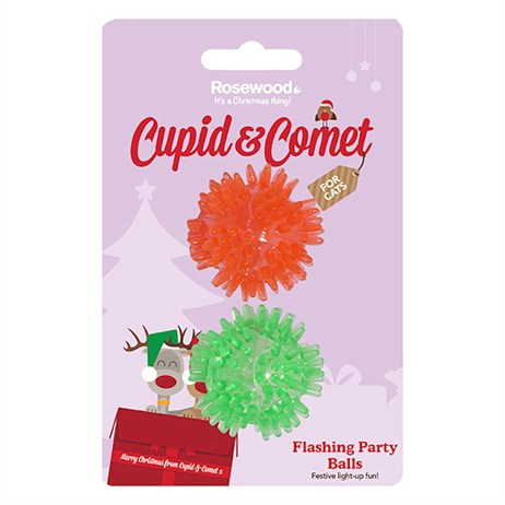 Rosewood Cat Toy - Flashing Christmas Party Balls 2 Pack (90839)