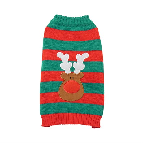 Rosewood Dog Clothing - Festive Stripey Christmas Reindeer Jumper Small/Medium (90791)