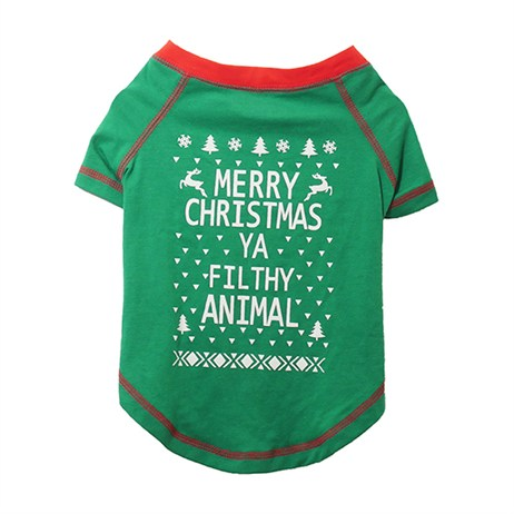 Rosewood Dog Clothing - Merry Christmas Ya Filty Animals T-Shirt Small (90781)