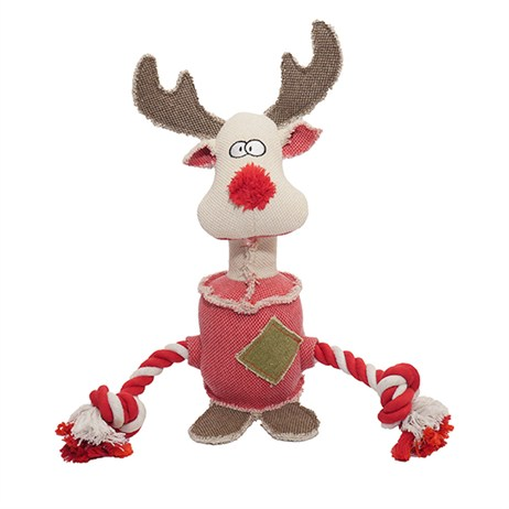 Rosewood Dog Toy - Rocky The Super Twisty Tough Christmas Reindeer (90671)