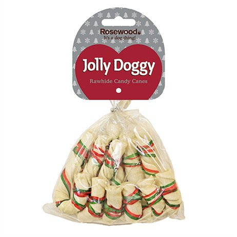 Rosewood Dog Treat - Rawhide Christmas Candy Cane For Dogs (38620)