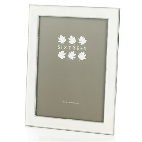 Sixtrees Jessica Silver Plated Ivory Enamel 8x10 Photo Frame (2-685-80)