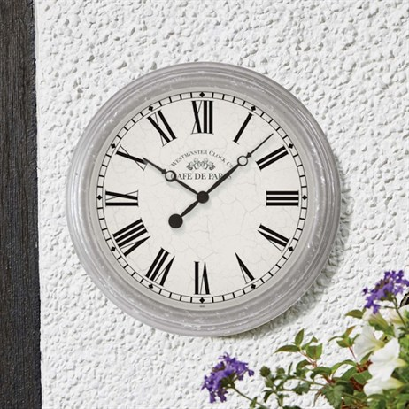 Outside In Biarritz White Floral Wall Clock 12 Inch (5160030)