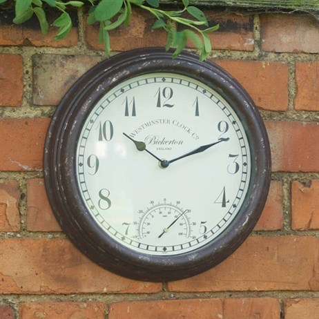 Outside In Bickerton Wall Clock & Thermometer 12 Inch (5060000)