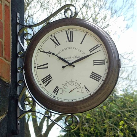 Outside In Double Sided Greenwich Station & Thermometer 15 Inch (5063020)