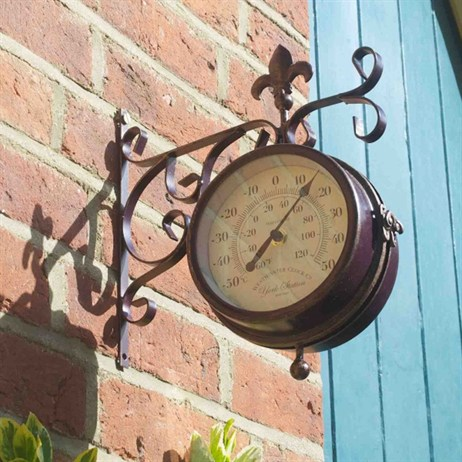 Outside In Double Sided York Station Clock & Thermometer 5.5 Inch (5063000)
