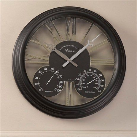 Outside In Exeter Wall Clock & Thermometer 15 Inch - Black (5061001)