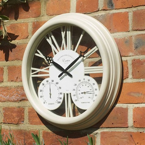 Outside In Exeter Wall Clock & Thermometer 15 Inch - Cream (5061000)