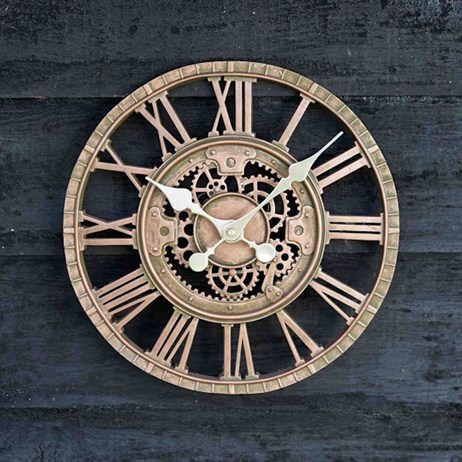 Outside In Newby Mechanical Wall Clock Bronze 12 Inch (5065010)