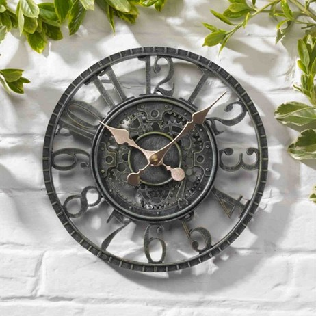 Outside In Newby Mechanical Wall Clock Verdigris 12 Inch (5065011)