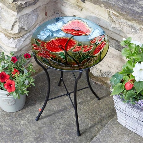 Smart Garden Poppy Birdbath Glass Decor Birdbath (5030012)