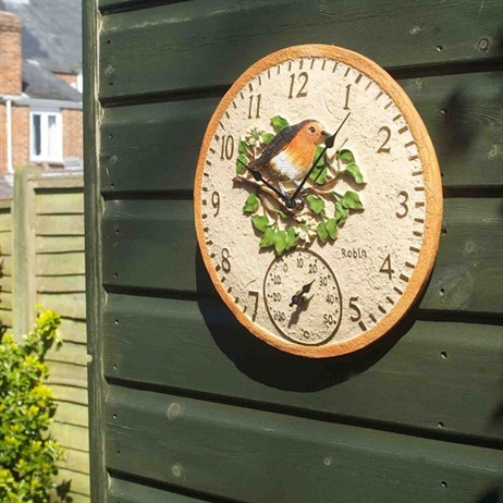 Outside In Robin Wall Clock & Thermometer 12 Inch (5064002)