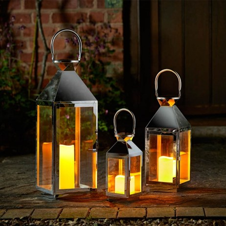 Smart Garden Stockholm Stainless Steel Lantern - Set Of 3 (5330006)