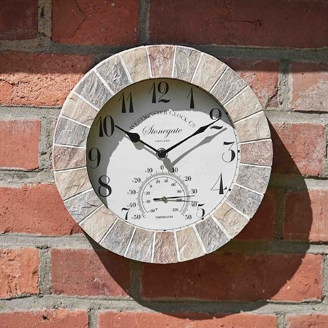Outside In Stonegate Wall Clock & Thermometer 10 Inch (5065030)