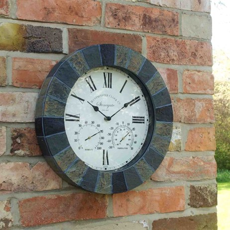 Outside In Stonegate Wall Clock & Thermometer 14 Inch (5065031)