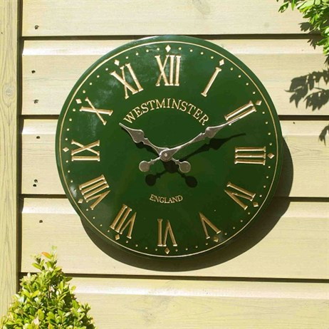 Outside In Westminster Tower Wall Clock 12 Inch Green (5065042)