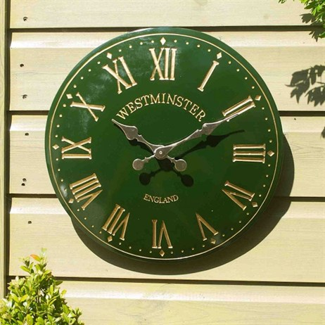 Outside In Westminster Tower Wall Clock 15 Inch Green (5065045)
