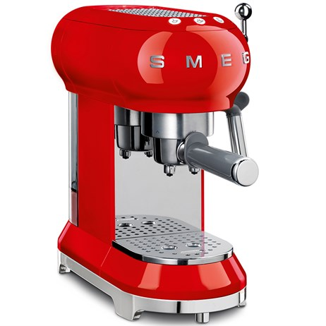Smeg 50's Retro Style Aesthetic Espresso Coffee Machine - Red (ECF01RDUK)