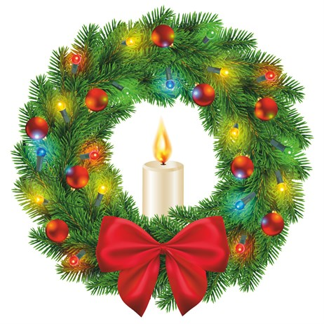 Statix Light Up Wreath With Candle Chirstmas Window Sticker - 250mm (80172)