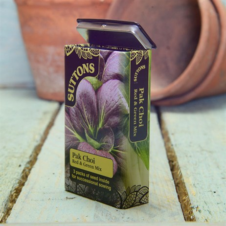 Suttons Seed Tin Pak Choi - Red And Green Mix (230004)