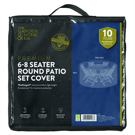 The Garden & Home Co Premium 6-8 Seater Round Patio Set Cover - Black (36002)