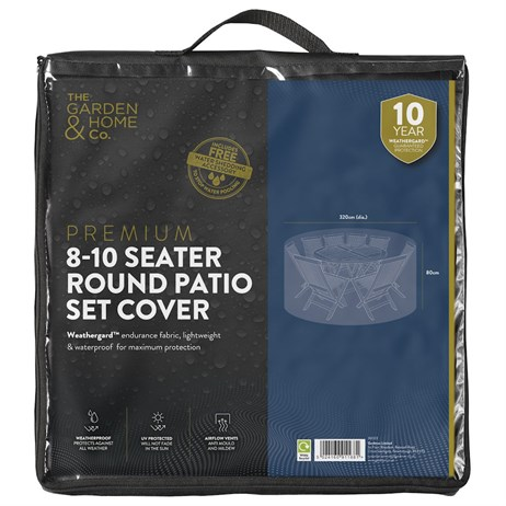 The Garden & Home Co Premium 8-10 Seater Round Patio Set Cover - Black (36003)