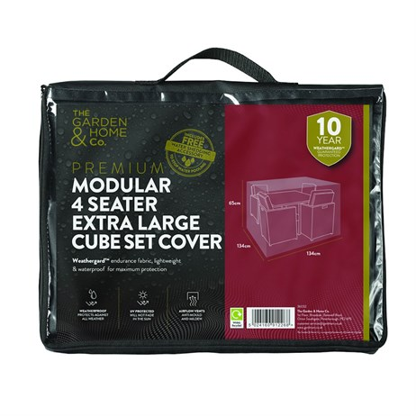 The Garden & Home Co Premium Modular 4 Seater Extra Large Cube Set Cover - Grey (38032)