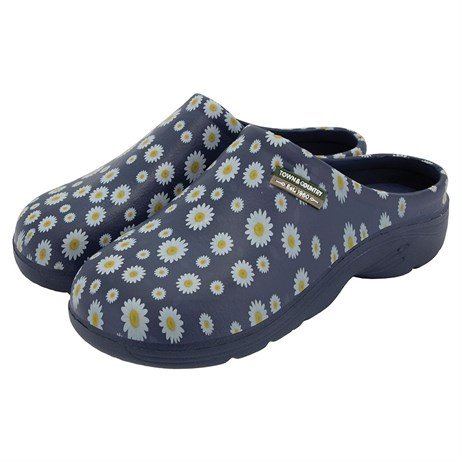 Town & Country Eva Cloggies - Navy Daisies - 4 (TFW5730)