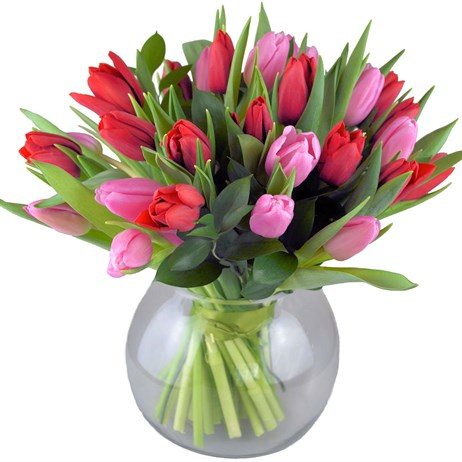 Tulip Heaven Valentine's Day Hand Tied Bouquet in a Vase