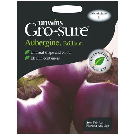Unwins Seeds Aubergine Brilliant F1 (30310333)