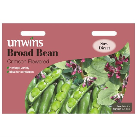 Unwins Seeds Broad Bean Crimson Flowered (31210086) Vegetable Seeds