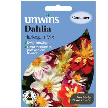 Unwins Seeds Dahlia Harlequin Mix (30210550) Flower Seeds