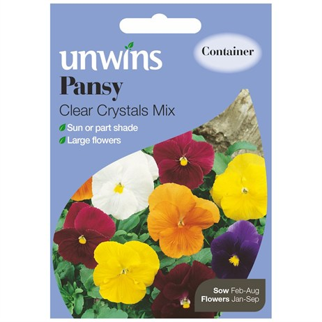 Unwins Seeds Pansy Clear Crystals Mix (30210153)