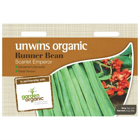 Unwins Seeds Runner Bean Scarlet Emporer (Organic) (30610058) Vegetable Seeds