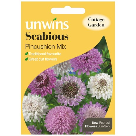 Unwins Seeds Scabious Pincushion Mix (30210189) Flower Seeds