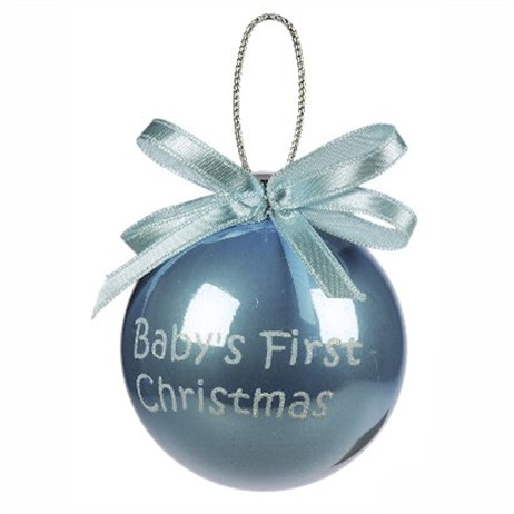 Weiste Babys First Christmas Bauble - Blue Baby Boy 65mm (76014LNG)