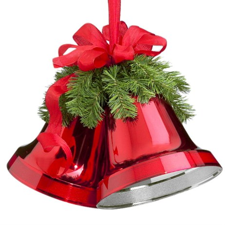 Weiste Double Christmas Bells With Bow & Branches - Green & Red 250mm (5977LNG)