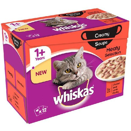 Whiskas Adult Creamy Soups Meaty Selection Wet Cat Food Multi-Pack