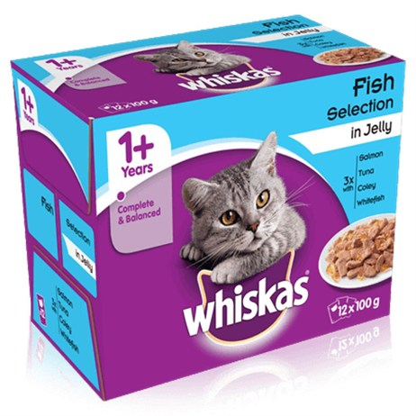 Whiskas Adult Fish Selection In Jelly Wet Cat Food Multi-Pack Pouches