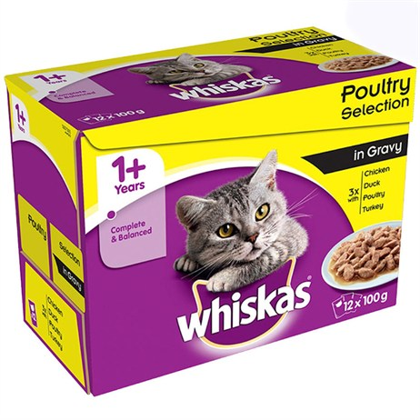 Whiskas Adult Poultry Selection In Gravy Wet Cat Food Multi-Pack Pouches