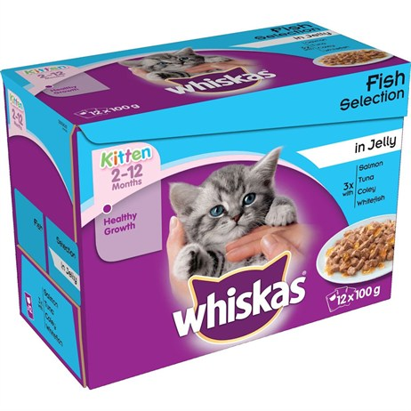 Whiskas Kitten Fish Selection In Jelly Wet Cat Food Multi-Pack Pouches