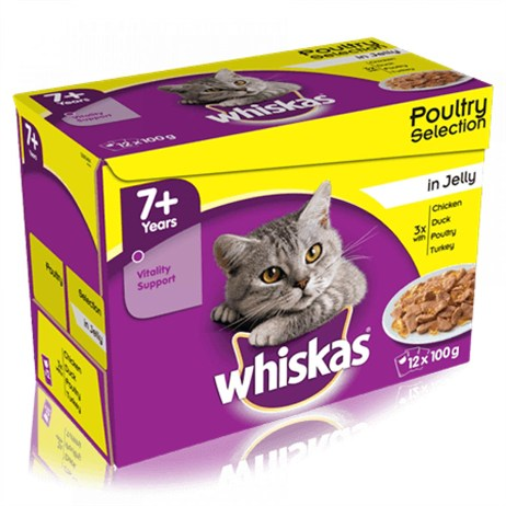 Whiskas Senior Poultry Selection In Jelly Wet Cat Food Multi-Pack Pouches