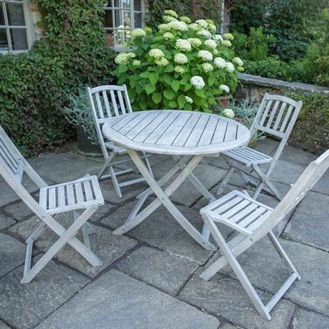 Woodlodge Dorset 4 Seat Round Outdoor Garden Furniture Dining Set