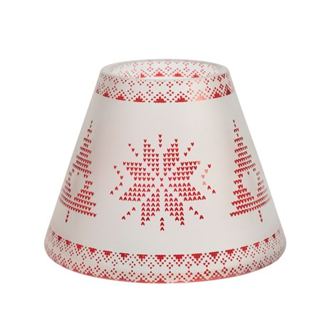 Yankee Candle Christmas Decoration - Red Nordic Frosted Glass Shade & Tray - Small (1651271)