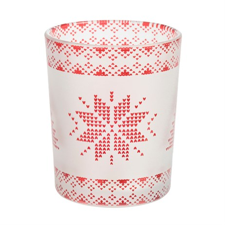 Yankee Candle Christmas Decoration - Red Nordic Frosted Glass Tea Light & Votive Holder (1652605)