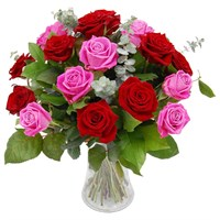 Red & Pink 15 Roses Hand Tied Valentine's Day Bouquet