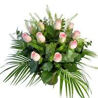 Long Stem 12 Pink Roses Hand Tied Valentine's Day Bouquet