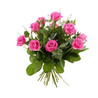 12 Long Stem Pink Roses Hand Tied Valentine's Day Bouquet